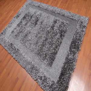 5'x7'6 Hand Made Polyester Shag Oriental Area Rug Silver Gray Color
