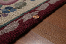 4'x6' Beige Burgundy Green, Blue, Purple, Multi Color Hand Made Hand Hooked Wool Traditional Oriental Rug