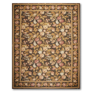 10'x14' Dark Brown Rose Ivory, Gold, Beige, Multi Color Hand-Woven Asmara Needlepoint Aubusson Wool Traditional Oriental Rug