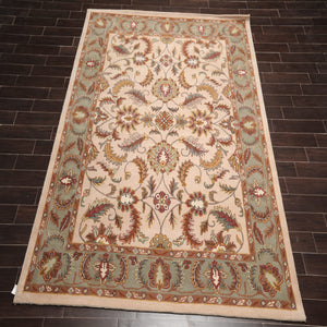 8x10 Hand Tufted Hand Made 100% Wool Traditional Oriental Area Rug Beige, Aqua Color