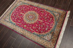 "Persian Oriental Area Rug Hand Knotted 100% Silk Traditional Tabriz 400 KPSI (3'2""x4'10"")"