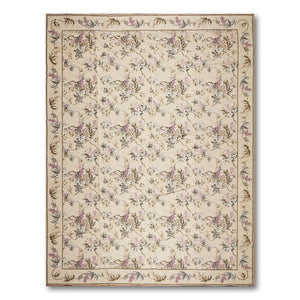 9'x12' Beige Olive Lavender, Purple, Multi Color Hand-Woven Asmara Needlepoint Aubusson Wool Traditional Oriental Rug