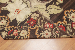 "Turkish Kilim Hand-Woven Wool Traditional TurkishDesign Antique Finish Wool Foundation (5'5""x11'8"")"