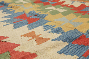 "6'6""x10'5"" Ivory Rust Green, Blue, Multi Color Hand-Woven Turkish Kilim Wool Traditional Oriental Rug"