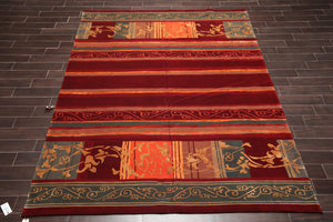 Tibetan Oriental Area Rug Hand Knotted Wool & Silk Transitional Superfine (8'x10')