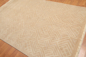 Oriental Area Rug Hand-Knotted Wool Modern Geometric pattern (6'x9')