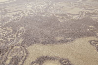 8'x10' Gray Ivory Beige, Multi Color Machine-Made TB26 New Zealand Wool Modern Oriental Rug