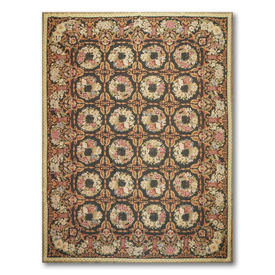 9'x12' Black Gold Green, Olive, Rust, Multi Color Hand-Woven Asmara Needlepoint Aubusson Wool Traditional Oriental Rug