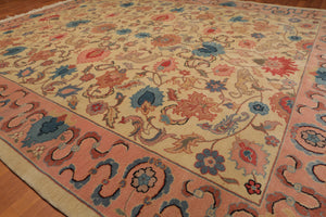 "7'10""x9'8' Beige Pink Blue, Tan, Rose, Multi Color Hand-Knotted Oriental Area Rug 100% Wool  Traditional Persian Oriental Rug"