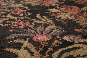 "4'2""x13'5"" Charcoal Dark Brown Rust, Sage, Purple, Multi Color Hand-Woven Turkish Kilim Wool Traditional Oriental Rug"
