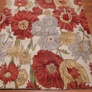 6'x9' Hand Tufted Wool  Bold Blooms Oriental Area Rug Beige, Red Color