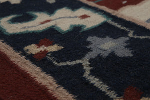 4'x6' Ivory Rust Navy, Blue, Pale Pink, Multi Color Hand-Knotted Persian Tabriz Wool Traditional Oriental Rug