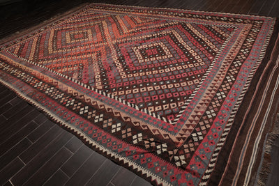 Oriental Area Rug Hand Woven 100% Wool Traditional Hand Woven Turkish Antique Afghan Kilim. Ready to use, Ptofessionally cleaned (10'5
