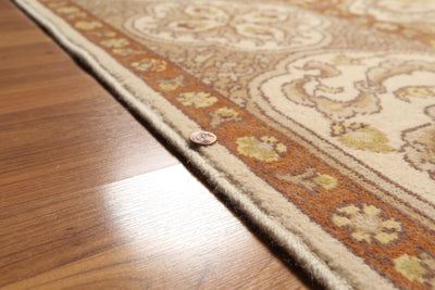 9'x12'   Beige  Burnt Orange, Green, Brown, Multi Color Hand Knotted Oriental Rug Wool Traditional Oriental Rug