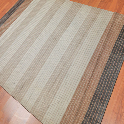 Beige, Tan, Brown and Chocolate Color mixed machine made,Flat weave, Boho Rug.