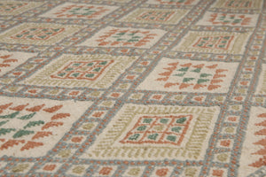 "4'4""x6' Ivory Green Orange, Brown, Blue, Multi Color Hand-Woven Flat Pile Area Rug Wool Traditional Oriental Rug"