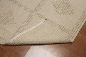 4'x6' Beige Color Machine-Made Flat Pile Wool Modern Oriental Rug