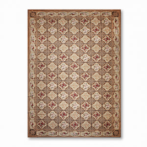 12'x18' Beige Chocolate Brown Burgundy, Multi Color Hand-Woven Asmara Needlepoint Aubusson wool Traditional Oriental Rug