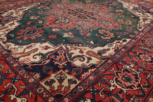 "8'2""x10' Green Rusty Orange Ivory, Brown, Blue, Multi Color Hand-Knotted Oriental Area Rug 100% Wool  Traditional Persian Oriental Rug"