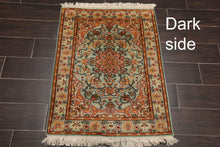 "Persian Oriental Area Rug Hand Knotted 100% Silk Traditional Kashan 400 KPSI (2'3""x3')"