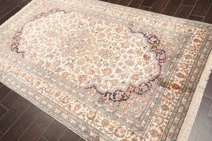 "Persian Oriental Area Rug Hand Knotted 100% Silk Traditional Tabriz 400 KPSI (5'1""x8'1"")"