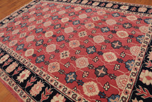 "4'4""x6'3"" Rose Black Blue, Beige, Tan, Peach, Multi Color Hand-Knotted Oriental Area Rug 100% Wool  Traditional Persian Oriental Rug"