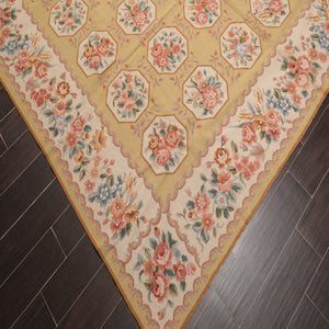 French Aubusson Needlepoint Area Rug Hand Knotted Wool Traditional  (9'x12')