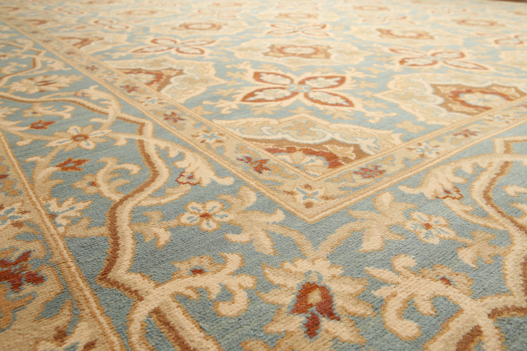 9'x12'   Beige  Burnt Orange, Blue, Dark Beige, Multi Color Hand Knotted Oriental Rug Wool Traditional Oriental Rug
