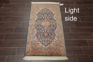 "Persian Oriental Area Rug Hand Knotted 100% Silk Traditional Tabriz 400 KPSI  (2'6""x4'5"")"