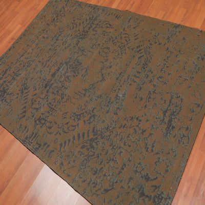4'9x7'8 Machine Made Cotton  Oriental Area Rug Brown, Green Color