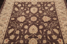 Square Hand Knotted Persian 100% Wool Peshawar Traditional Oriental Area Rug Brown, Aqua Color