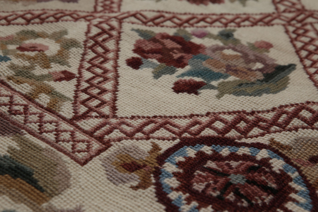 4'x6' Beige Burgundy Green, Brown, Multi Color Hand-Woven Needlepoint Aubusson Wool Traditional Oriental Rug