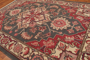 "4'3""x6'4"" Grey Rose Ivory, Black, Plack,Brown, Multi Color Hand-Knotted Oriental Area Rug 100% Wool  Traditional Persian Oriental Rug"