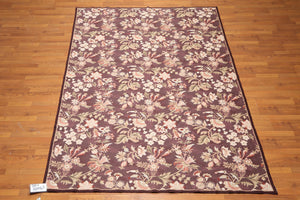 "6'x9'3""  Eggplant  Beige, Multi Color Hand Woven Aubusson Wool Traditional Oriental Rug"