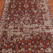 "4'1""x7'1"" Machine Made Cotton Persian Erased Pattern Oriental Area Rug Brown,, Taupe, Color"