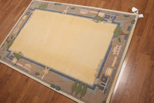 Vanilla Taupe Blue, Green Wool Traditional Plus Pile (4'x6')