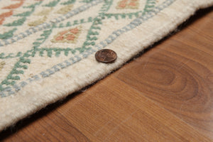 "Flat Pile Area Rug Hand-Woven Wool Traditional  (4'4""x6')"