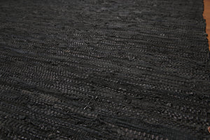 "5'9""x9'4"" Black Charcoal Tone on Tone Color Hand-Woven Area Rug Leather Modern  Oriental Rug"