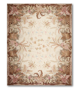 10'x14'   Ivory  Brown, Pale Pink, Blue, Multi Color Hand Woven Needlepoint Wool Traditional Oriental Rug