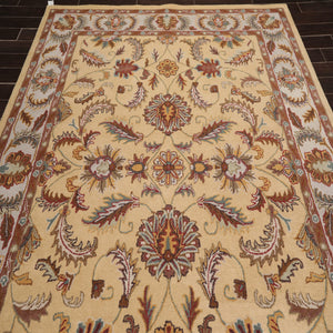 8x10 Hand Tufted Hand Made 100% Wool Traditional Oriental Area Rug Light Gold, Gray Color