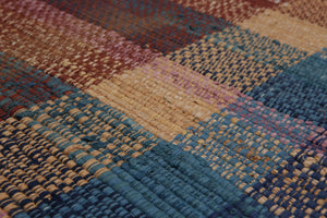 3'x5' Rust Blue Pink, Beige, Multi Color Hand-Woven Dhurry  Reversible Wool Contemporary Oriental Rug
