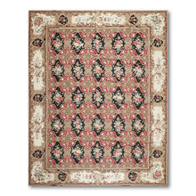 8'10x11'10 Brown Rust Black, Ivory, Rose, Blue, Multi Color Hand-Woven Asmara Needlepoint Aubusson Wool Traditional Oriental Rug