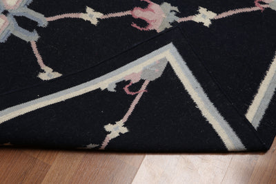 3'x5' Midnight Blue Ivory Gray, Pale Pink Color Hand-Woven Dhurry Kilim Reversible Wool Modern Oriental Rug