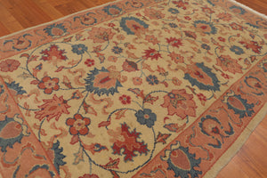 "3'x4'10"" Beige Peach Rust, Blue, Brown, Pale Pink, Multi Color Hand-Knotted Oriental Area Rug 100% Wool  Traditional Oriental Rug"