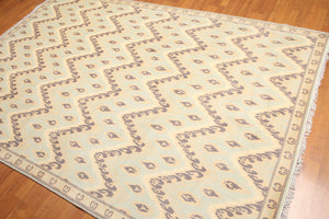 Oriental Hand-Knotted Wool Transitional Ikat Design (6'x9')