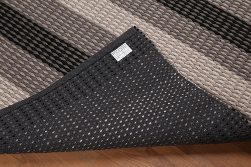 6'x9'  Beige Ivory Black, Gray Color Hand-Woven Hand Made Plus Pile Wool Modern Oriental Rug