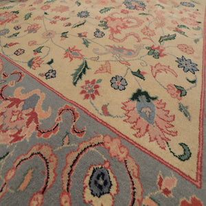 "8'10""x11'8"" Beige Blue, Pale Pink, Green, Multi Color Hand-Knotted Oriental Area Rug 100% Wool  Traditional Persian Oriental Rug"