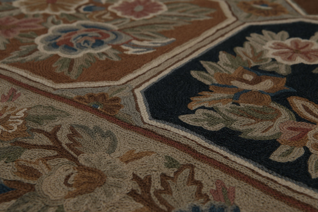 4'x6' Tan Black Blue, Gray, Rose, Multi Color Hand Made Chain Stitch Wool Traditional Oriental Rug