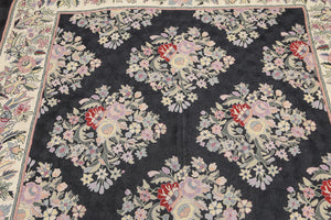 French Needlepoint Aubusson Hand-Woven Wool Traditional Chainstitch  European Floral (6'x9')