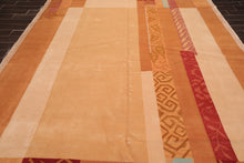 Tibetan Oriental Area Rug Hand Knotted Wool & Silk Transitional  (9'x12')